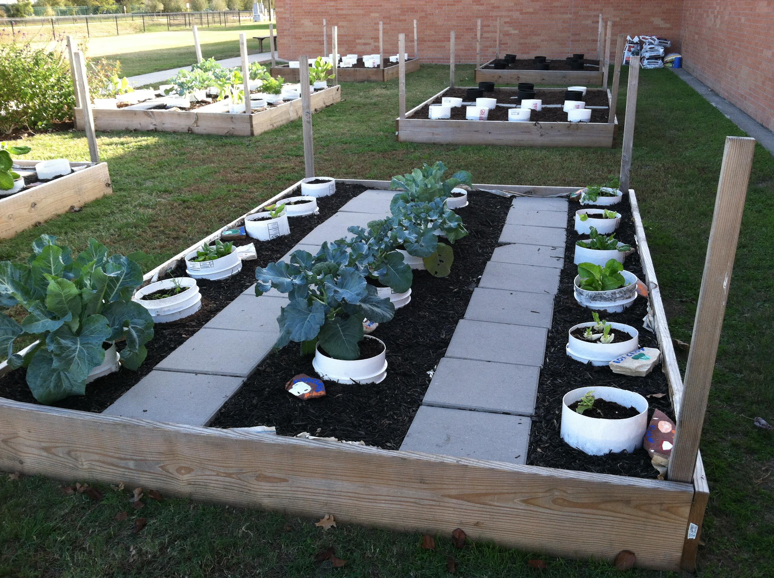 Cylinder Garden At MacDoogle Elementary In Houston.